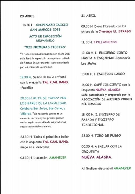 Fiestas San Marcos - Sobradiel 2018 - 2