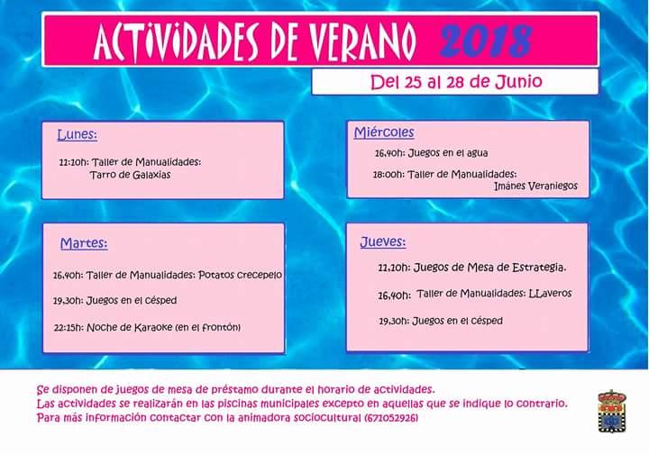 Actividades del 25 al 28 de Junio