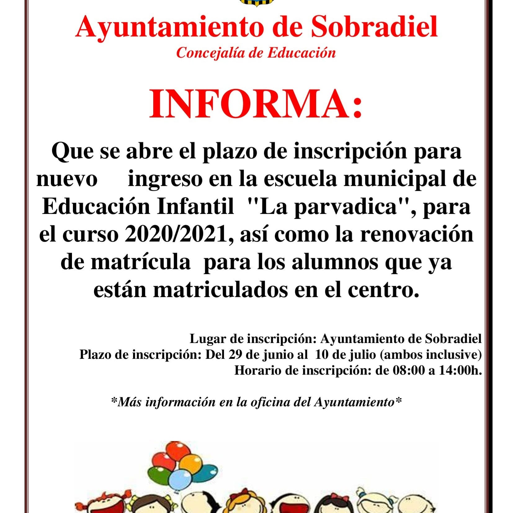 Plazo inscripción escuela municipal de educacion infantil